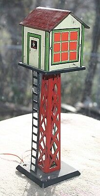 """Vintage MARX Tin Litho Rail Road Signal Watch TOWER """"0"""" Scale Electric"""