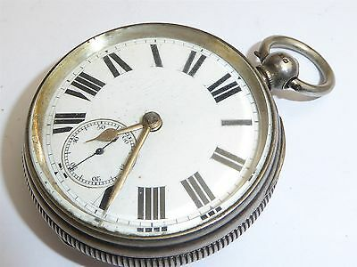 Antique solid silver fusee movement 54mm pocket watch not working