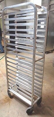 Commercial Kitchen Stainless Bun Pan Bakery Rolling Rack For 1/4 Sheet Trays