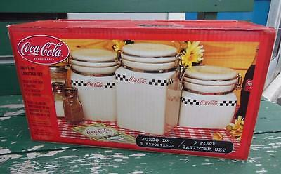 New Coca-Cola Coke Cafe 3 Pc Kitchen Canister Set Advertising 2000 Gibson *