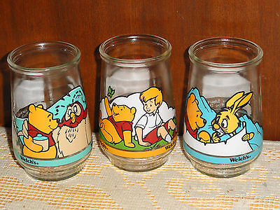 3 Collectable Welch's Winnie The Pooh Juice Glasses