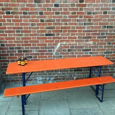 Industrial Vintage German Beer Hall Wooden Metal Garden Table Benches Set