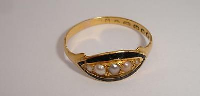 22ct Gold Victorian Mourning Ring - Black Enamel & Pearls *1871*