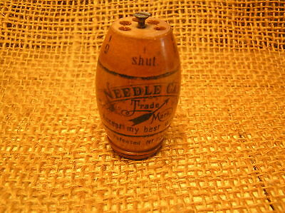 Vintage Antique Solid Wooden Asbro Needle Case~With Advertising~Made In Germany