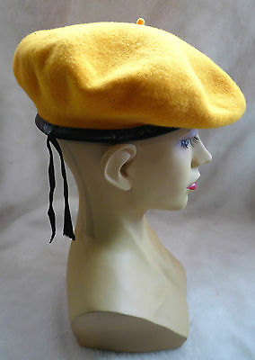 Pretty Vintage French Golden Yellow Wool Leather Band Ribbon Beret Size 57 Vgc