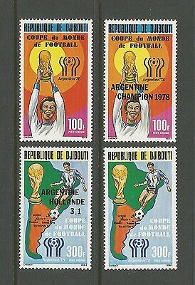 DJIBOUTI Sc# C115 - C118 MNH FVF Set4 1978 Soccer World Cup Argentina Ovpt