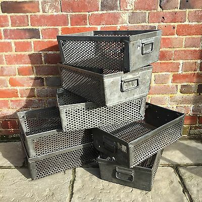 Industrial Vintage Metal Factory Stacking Storage Boxes Crates
