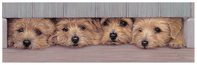 NORFOLK TERRIER DOG FINE ART LIMITED EDITION PRINT -  The Welcome Home Committee