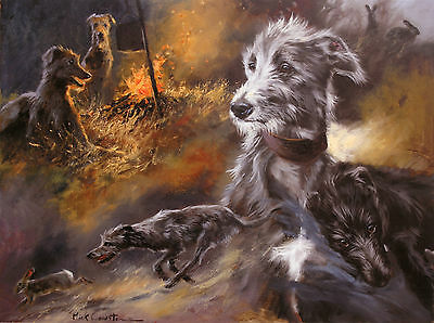 LURCHER COURSING LONG DOG ART LIMITED EDITION PRINT - by the late Mick Cawston