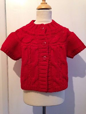 8y RED SLEEVELESS CARDI with WOOL by GIRANDOLA - CLEARANCE PRICE - BRAND NEW