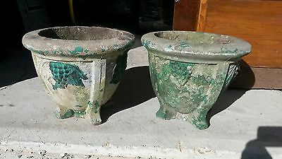 Victorian concrete urns with grape pattern