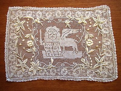 Antique Lace Placemat Embroidered Table Doily Handmade Whitework French Knots