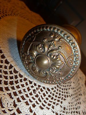 2 Vintage heavy cast BRASS fancy Victorian door knobs   #3
