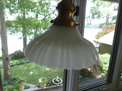 Vintage PAIR ruffled Victorian milk glass shades brass pendant light fixtures • CAD $255.15