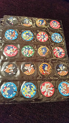 Rare French Sonic The Hedgehog Set Of 30 Pogs Tazos BN Biscuits Troc`s Fluo 92