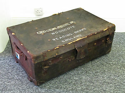 Vintage Leather Suitcase Trunk Coffee Table Toy Box Storage Box Shabby Original