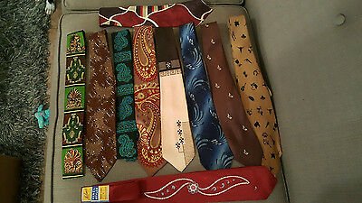 Lot 10 True Vintage Swing Neckties 2 Square End Rooster 1 Nwt Retro Tie