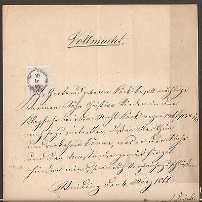 Austria. 1866. Revenue Document. Power Of Attorney.