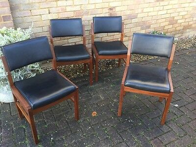 4 x Vintage Mid Century 1976 Black Vinyl + Rosewood Dining Chairs Verry Heavy