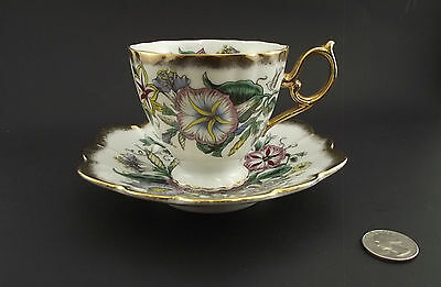 Shafford White Floral Fancy Handled  Antique Cabinet Tea Cup And Saucer