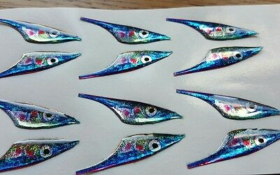 3d epoxy eyes Blue sandeel fish heads. for fly tying. Pack of 12 35mmx10mm