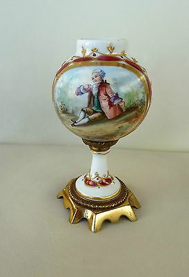 Small 12cm Hand Painted Sevres Ormolu Vase Signed PG