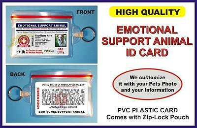 EMOTIONAL SUPPORT ANIMAL ID CARD  Holographic  comes w/ Zip-Lock Pouch for Vest