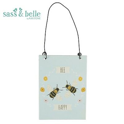 New Vintage Bee Happy Wall Blue Hanging Metal Sign Plaque Sass & Belle