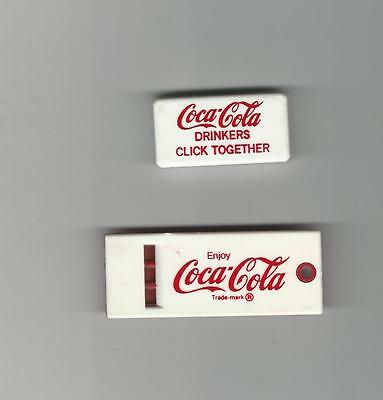 COCA COLA ADVERTISING Coke Drinkers Click Together Clicker & Whistle - 2 Toys