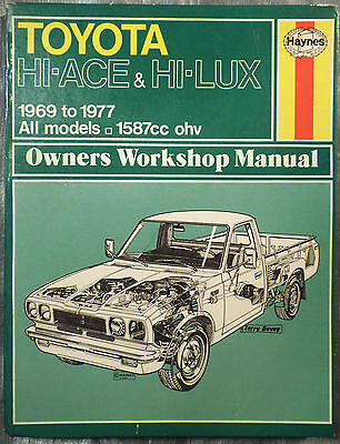 Haynes Workshop Manual Toyota Hi-Ace & Hi-Lux from 1969 to 1977.