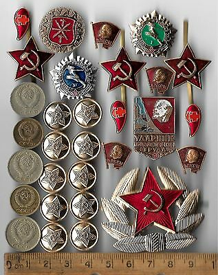 Russian Civil Pin CCCP Red Star Army Badge Medal COLD WAR Coin Collection 30 Lot