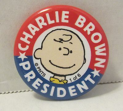 """2016 SDCC Peanuts Charlie Brown President Button 1.25"""" NEW"""