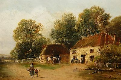 An Original 19thC Oil on Canvas Painting of a Country Tavern by Henry Harris