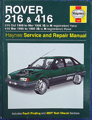 Haynes Workshop Manual Rover 216 & 416 from 1989 to 1996, Petrol.