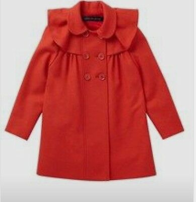 GIRLS RED WOOL FRENCH CONNECTION swing RUFFLE PEACOAT PEA COAT 12-13 YEARS
