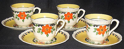 1905 Adams England Royal Ivory Titian Ware Demitasse Cups/Saucers ADA113 4 Avail