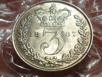 1887 Young Head threepence.