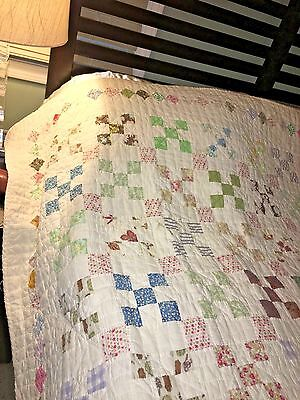 Signed Antique Patchwork Cotton Quilt Cheddar Cheese Hand Stitched