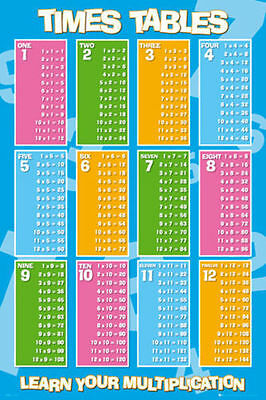 Times Tables Poster (61X91Cm) Mathematics Chart Picture Print New Art