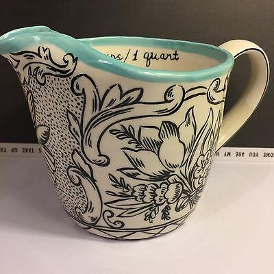 Anthropologie MOLLY HATCH Storybook Flora Aqua Measuring Cup Floral *Great Gift