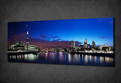 Blue Night In London Panorama Canvas Print Poster Picture Ready To Hang
