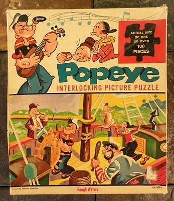 "Popeye The Sailor, Olive Oil, Wimpy- ""Rough Waters"" 100+ Pc Jigsaw Puzzle 1960's"