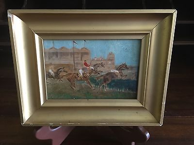 19th Century Painting Equestrian Steeplechase Horse Hurdle Original Art & Frame