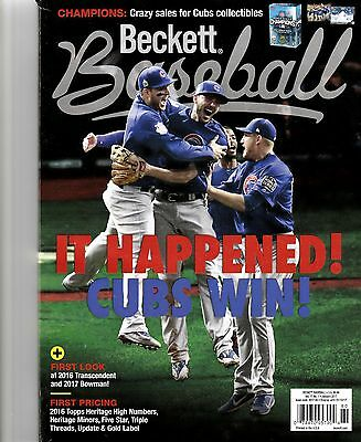 New Current Beckett Baseball Price Guide Magazine, January 2017, ( Cubs Win ! )