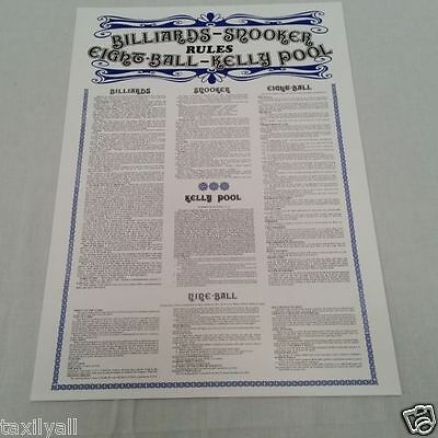 ORIGINAL Billiard Table Rules Poster Billiards Snooker Pool 9 ball and kelly