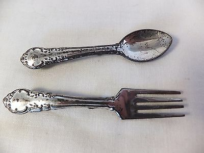 Vintage Silverman Co. brooch pair Sterling silver small spoon & fork patina