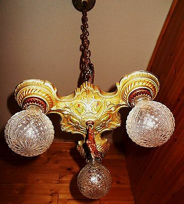 Vintage 1930 ART DECO VICTORIAN CAST IRON Chandelier Ceiling Fixture Antique