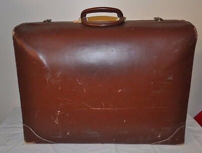 Antique VINTAGE LARGE Top Grain Leather Suitcase Cowhide Travel Luggage Bag