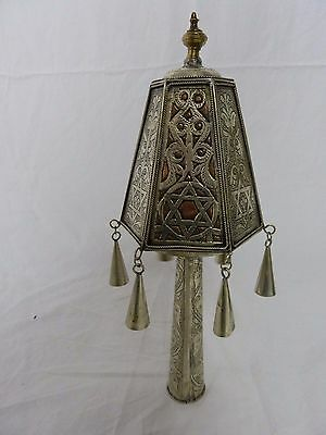 Antique Silver Plated Judaica Rimonim Finials Torah Ornament