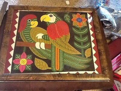 """Old Sampler Picture Parrots Embroidered Big 14.5"""" X 12.5"""" Flowers Beautiful"""